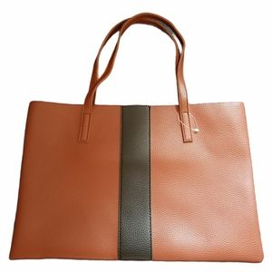 Vince Camuto Brown Vegan Pebbled Leather Tote